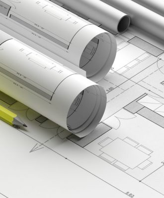 Construction concept. Building blueprint plans, banner. Architecture design, residential project. 3d illustration